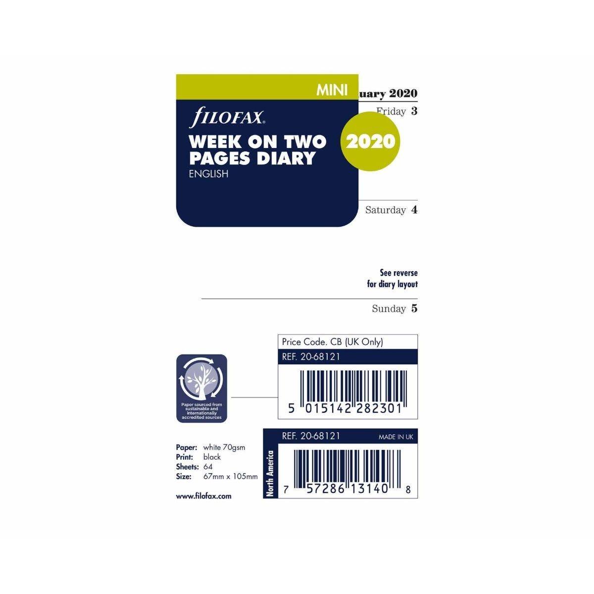Filofax Diary Insert Week to View Mini 2020 Refill