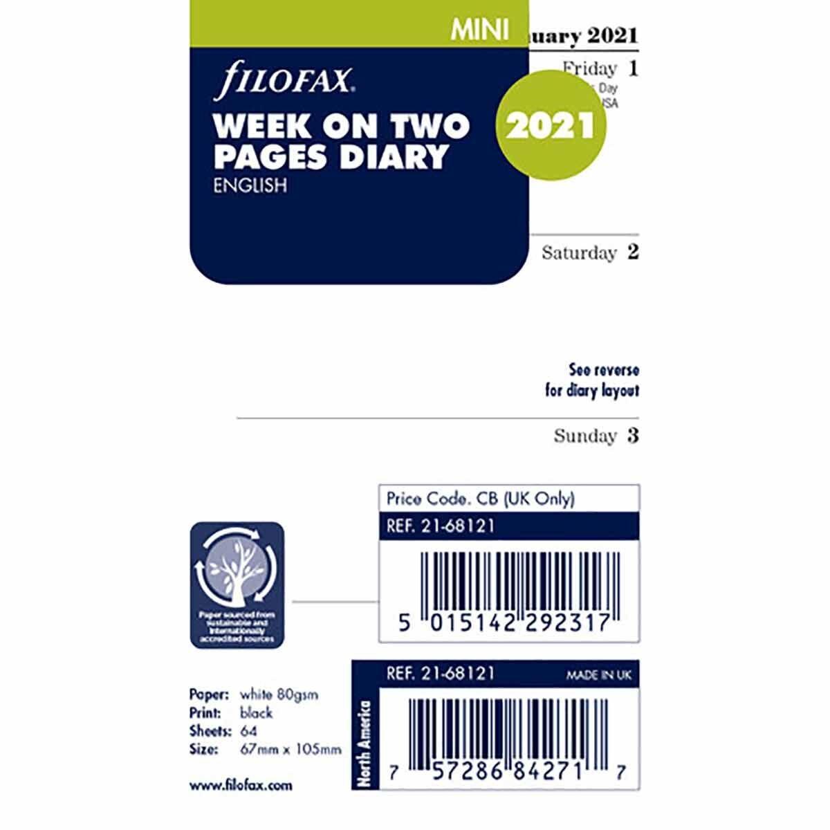 Filofax Diary Insert Week to View Mini 2021