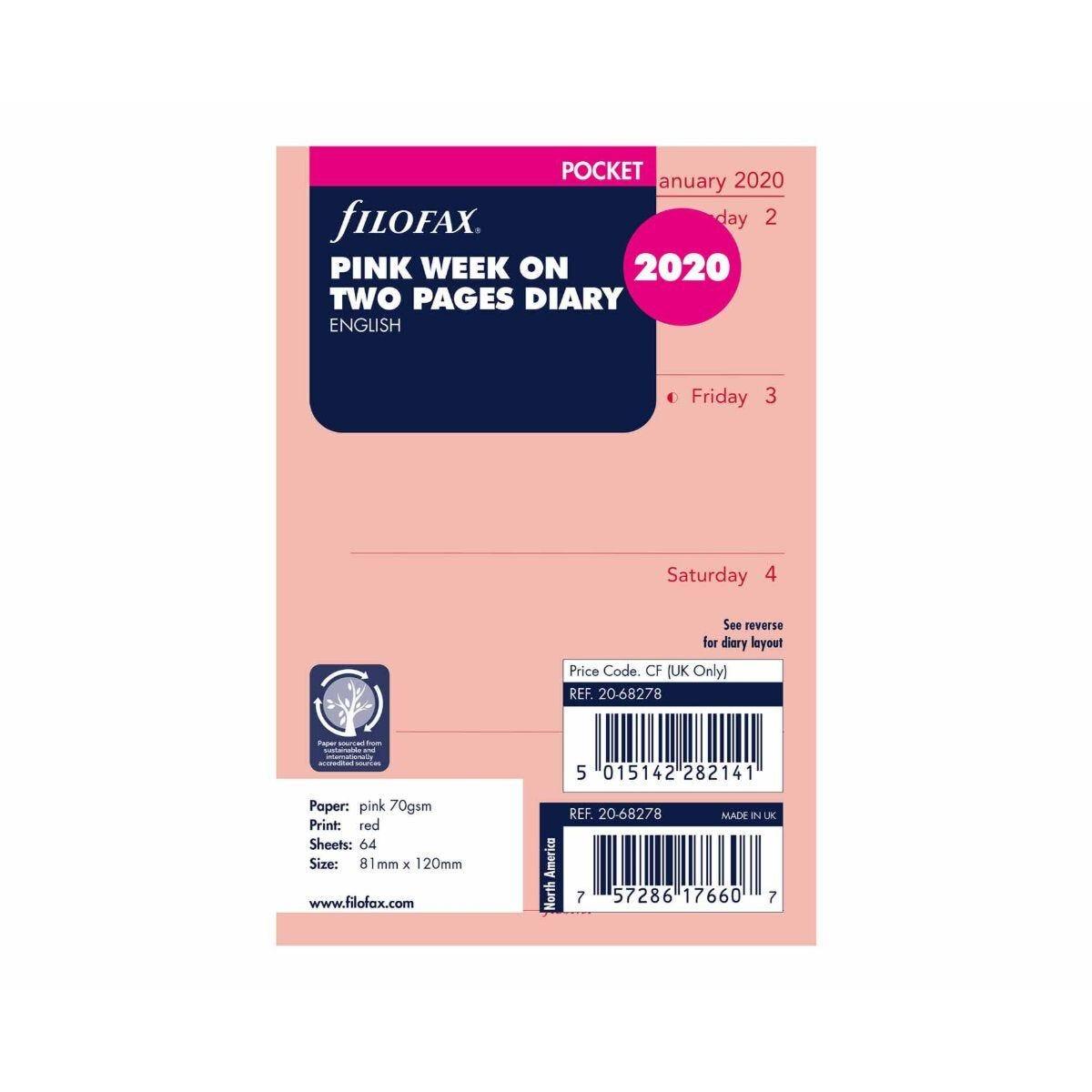 Filofax Diary Insert Week to View Pocket 2020 Pink