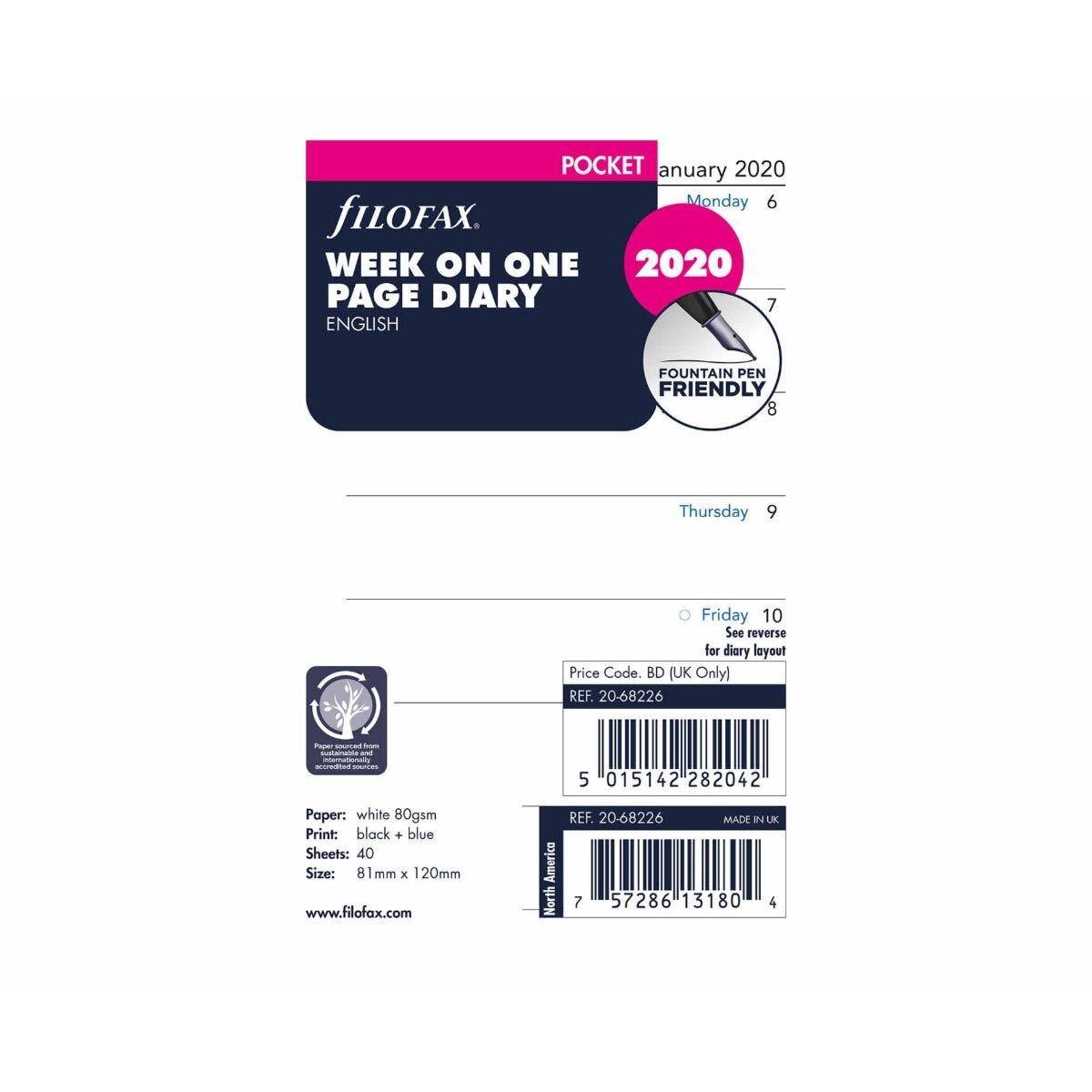 Filofax Diary Insert Week per Page Pocket 2020