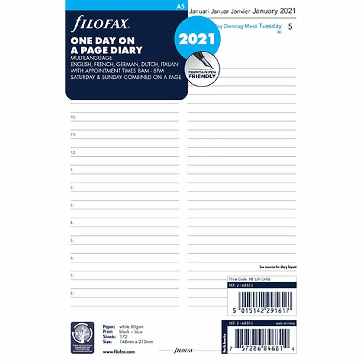 Filofax Diary Insert Day per Page A5 2021