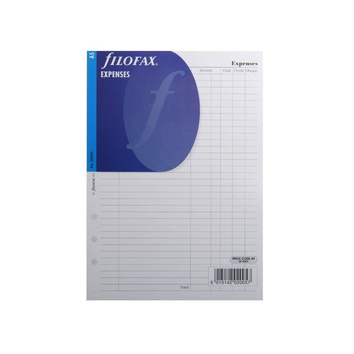 Filofax Refill Expenses A5 25 Sheets