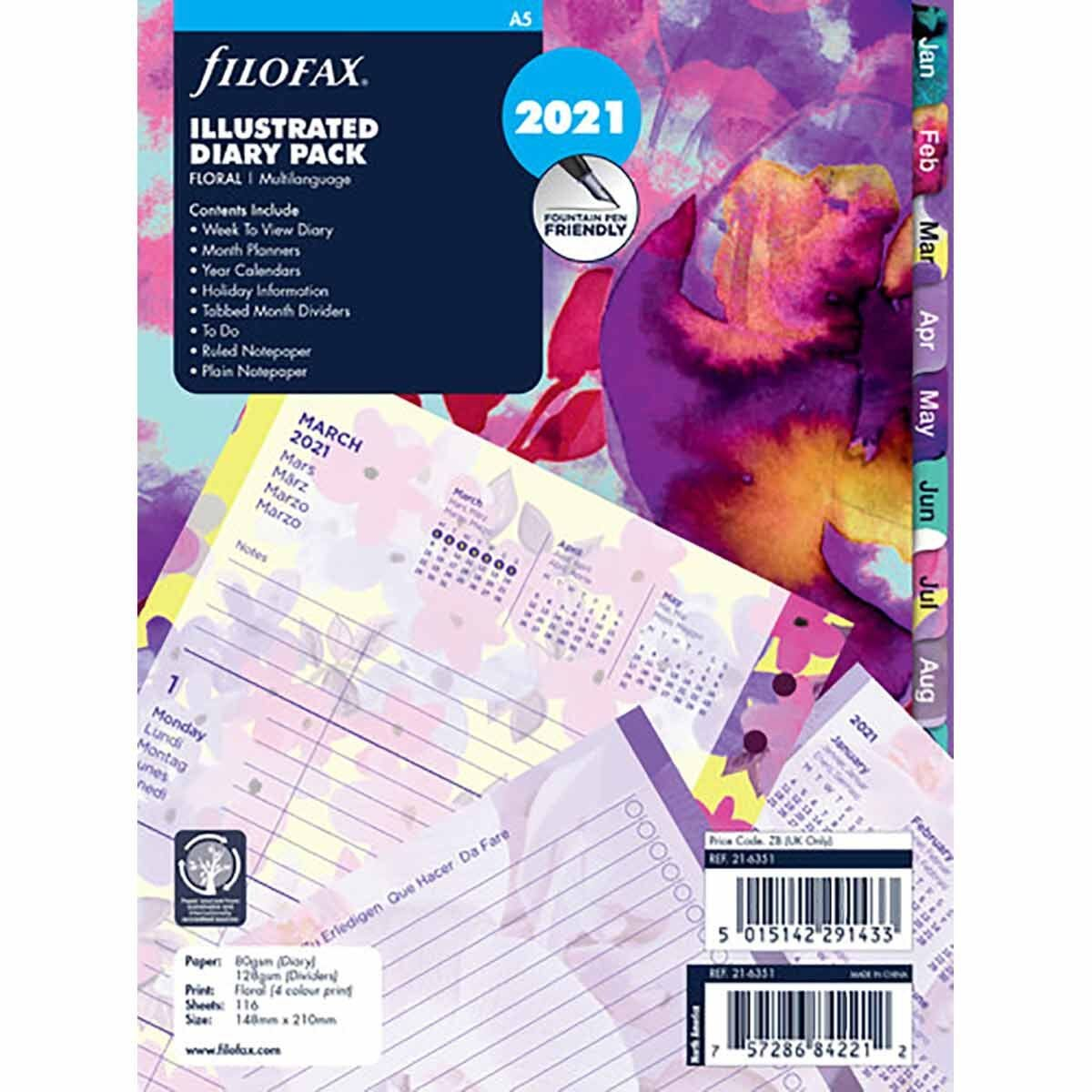 Filofax Diary Insert Week to View A5 2021 Floral