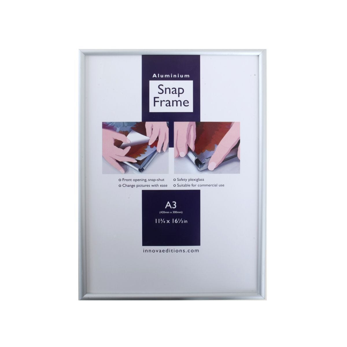 Snap Frame A3 Brushed Aluminium Wall Hanging