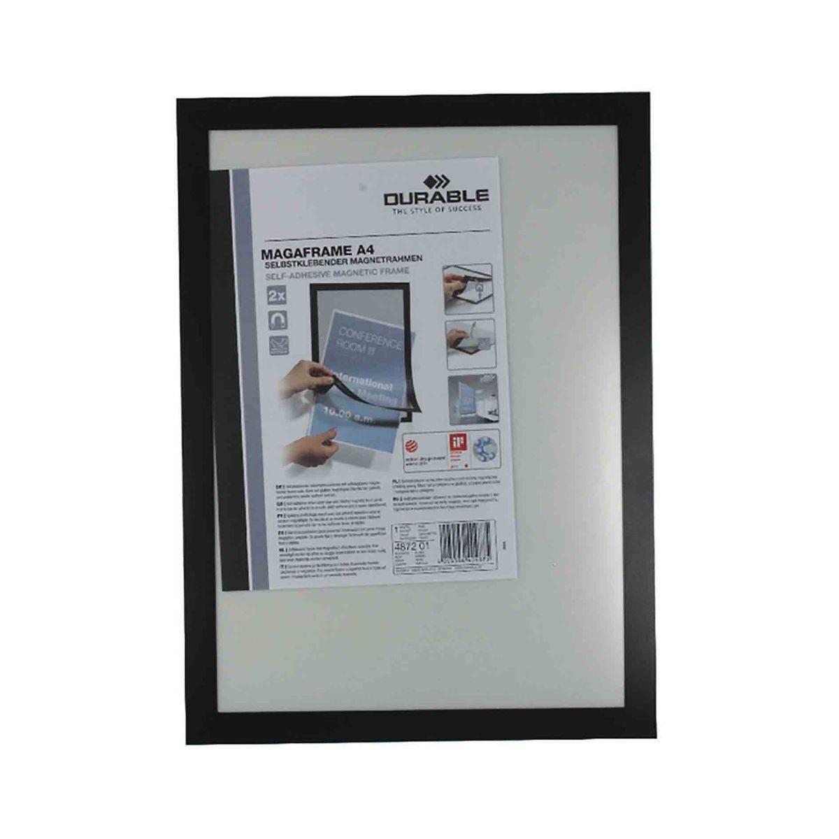 Durable Duraframe Magnetic Display Frame A4 Pack of 2 Black