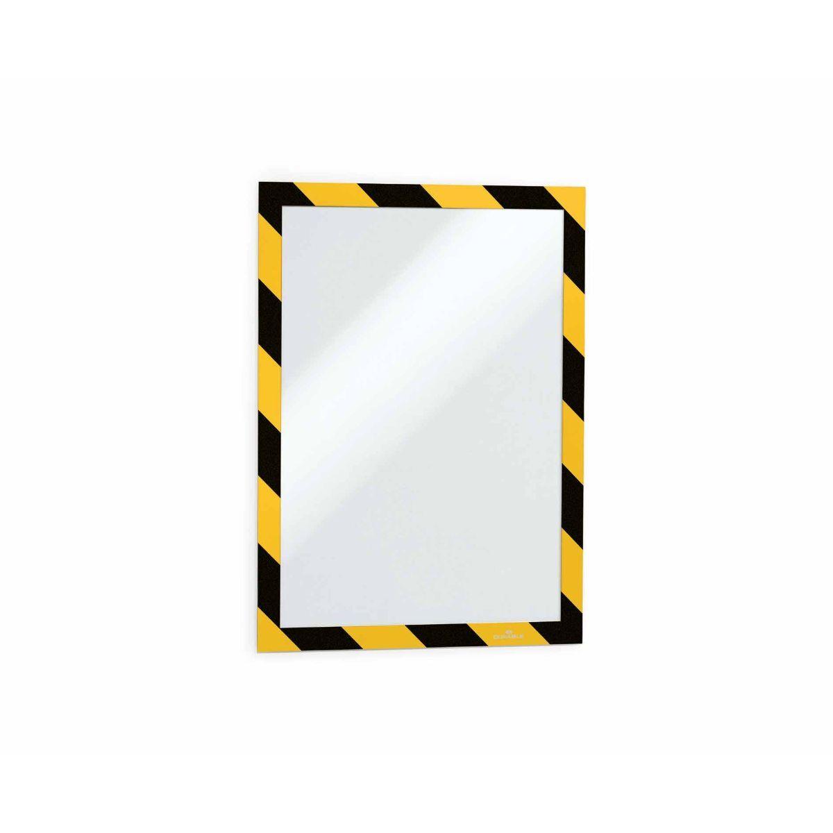 Duraframe Yellow and Black Warning Adhesive Frame A4