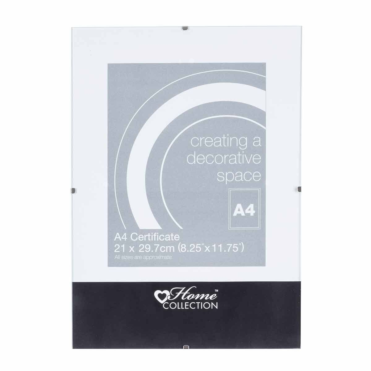 Home Collection Glass Clip Photo Frame A4 Certificate Pack of 12