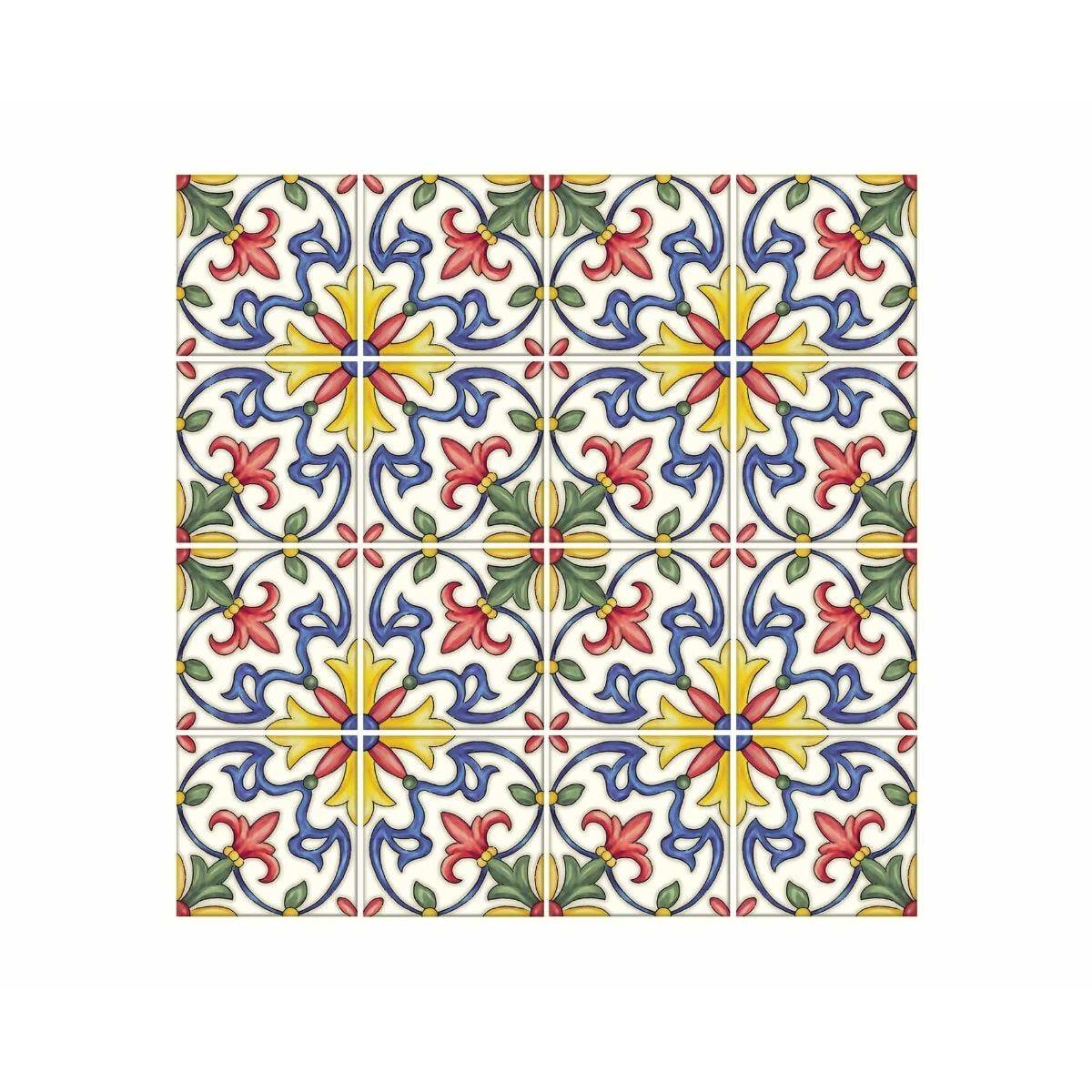 Tuscan Floral Backsplash Tiles Wall Decor