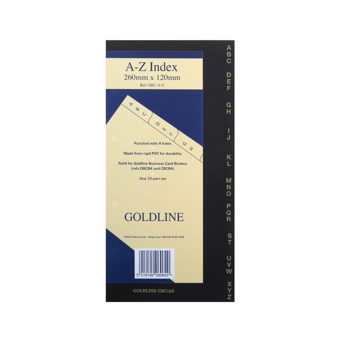 Goldline Business Card Binder Index