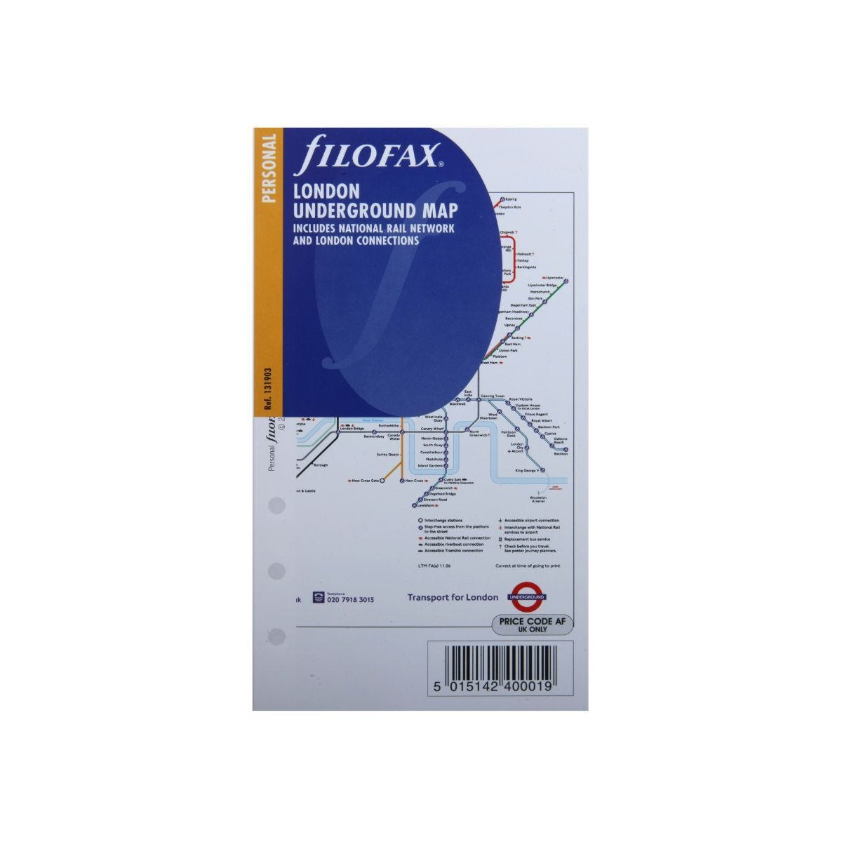 Filofax Refill London Underground Map Personal