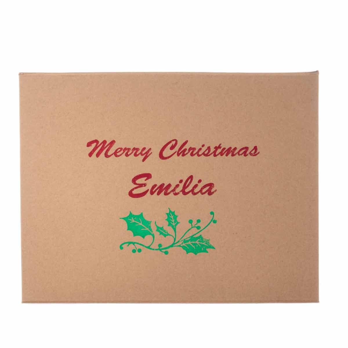 Personalised Christmas Gift Box Festive Holly
