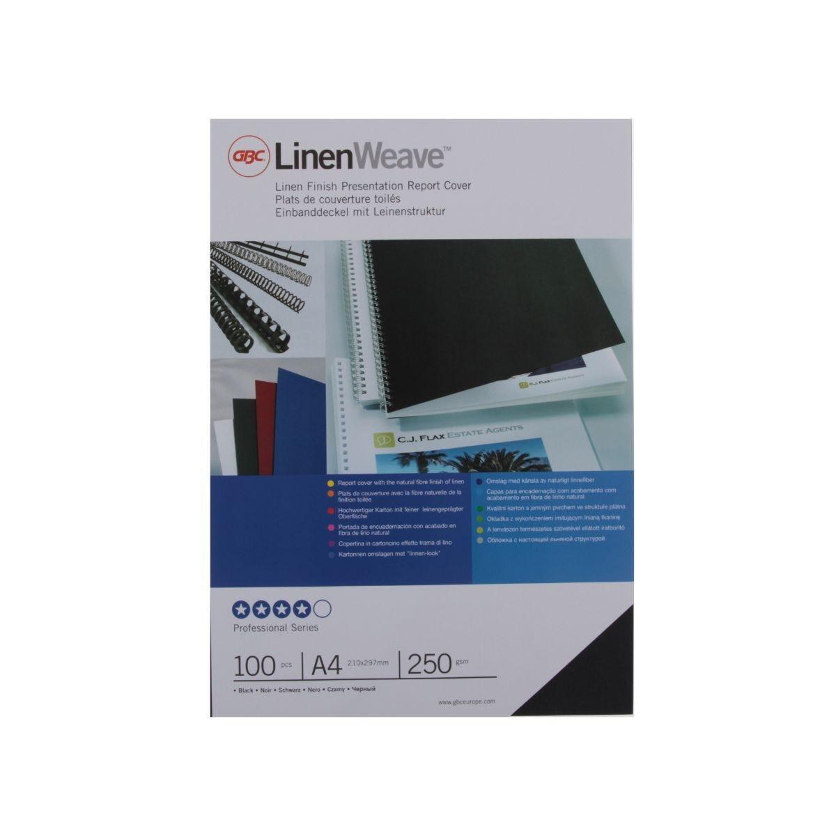 GBC Linen Covers A4 250gsm Pk100