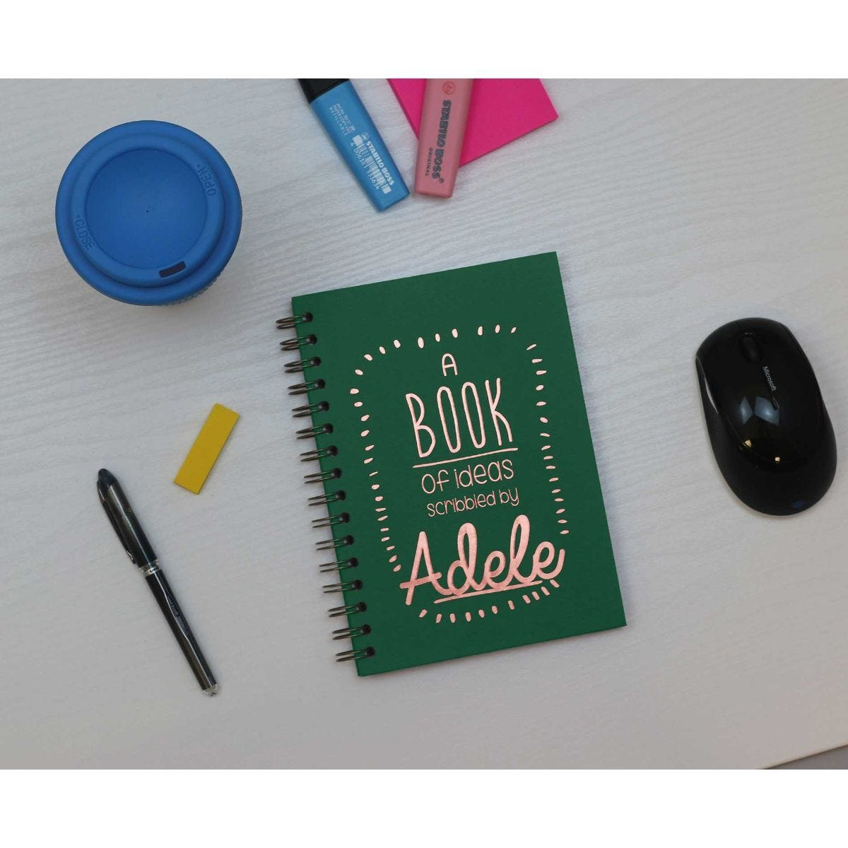 Heritage Personalised Notebook of Ideas in Copper Foil Green