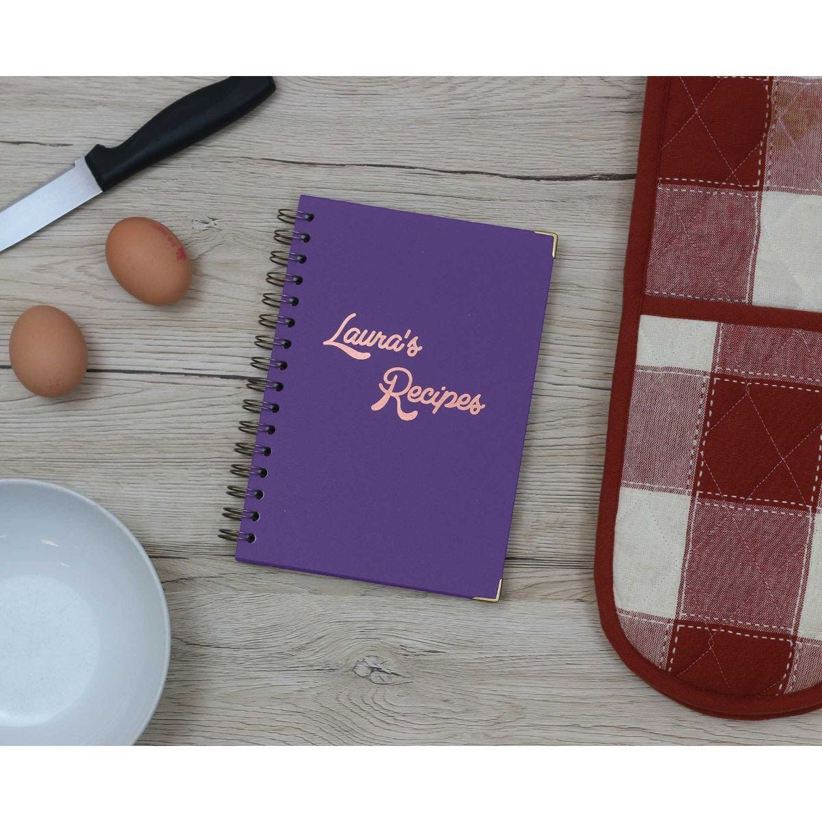 Heritage Personalised Notebook with 80s Font in Copper Foil Purple