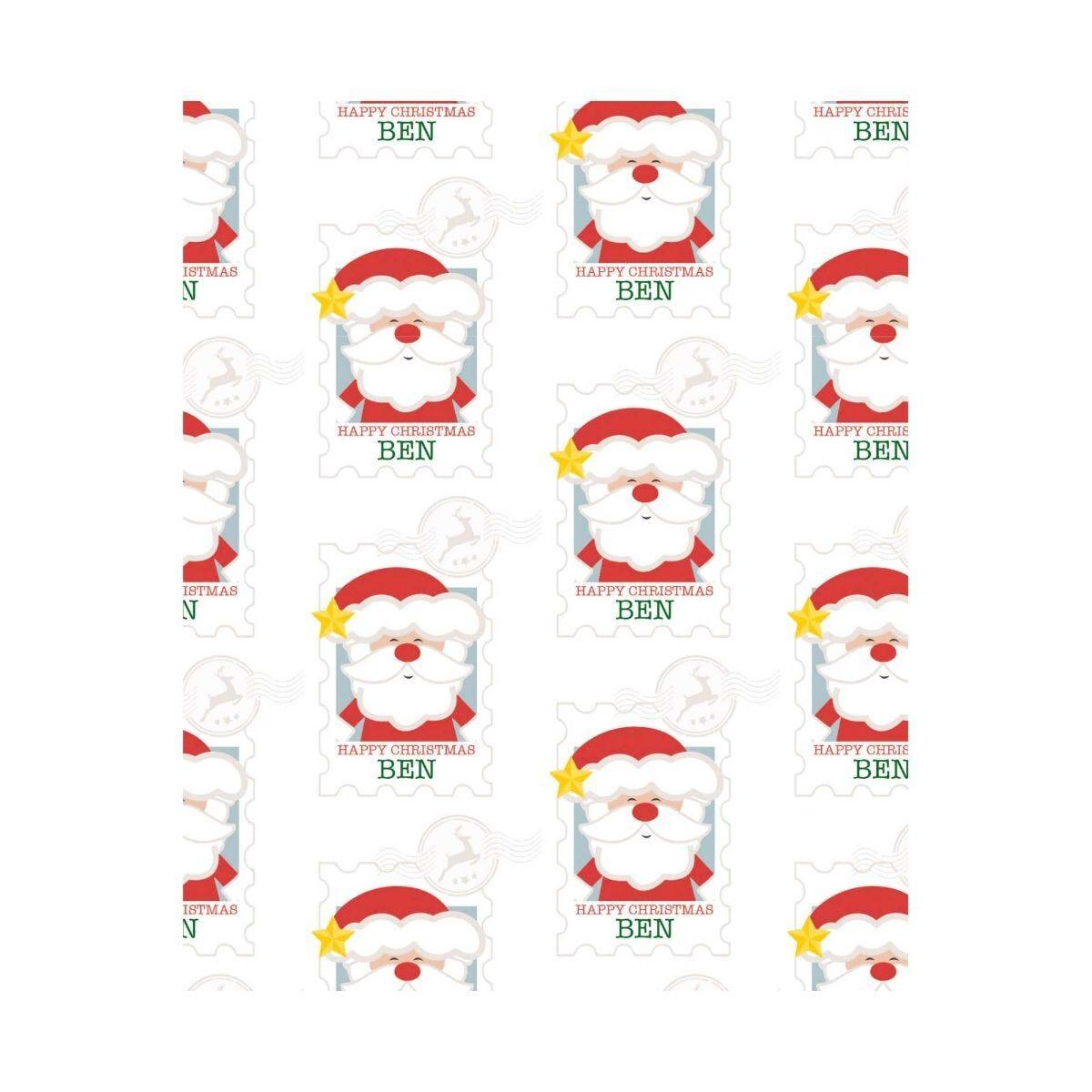 Ryman Personalised Wrapping Paper Santa Stamp 1 Metre x 2 Metre