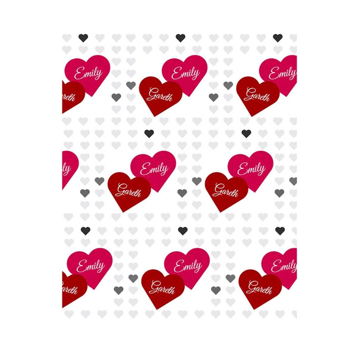Ryman Personalised Two Hearts Wrapping Paper 1 Metre x 50cm
