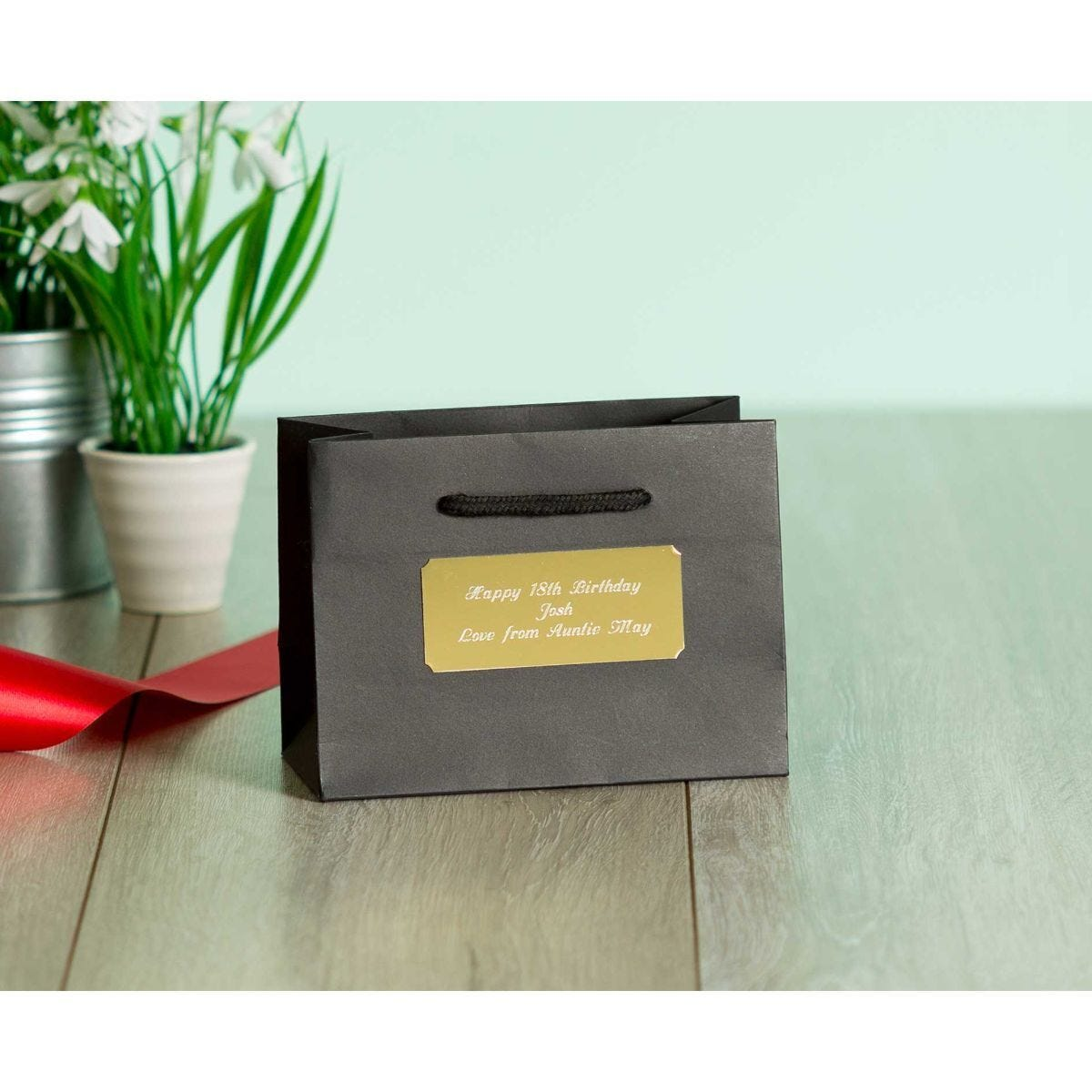 Personalised Luxury Small Black Gift Bag with Engraved Gold Plate