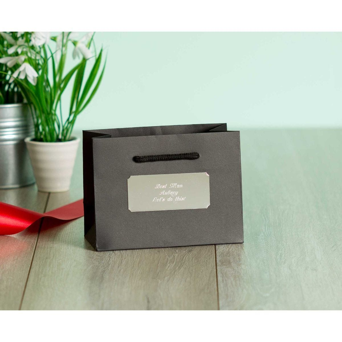 Personalised Luxury Small Black Gift Bag with Engraved Silver Plate