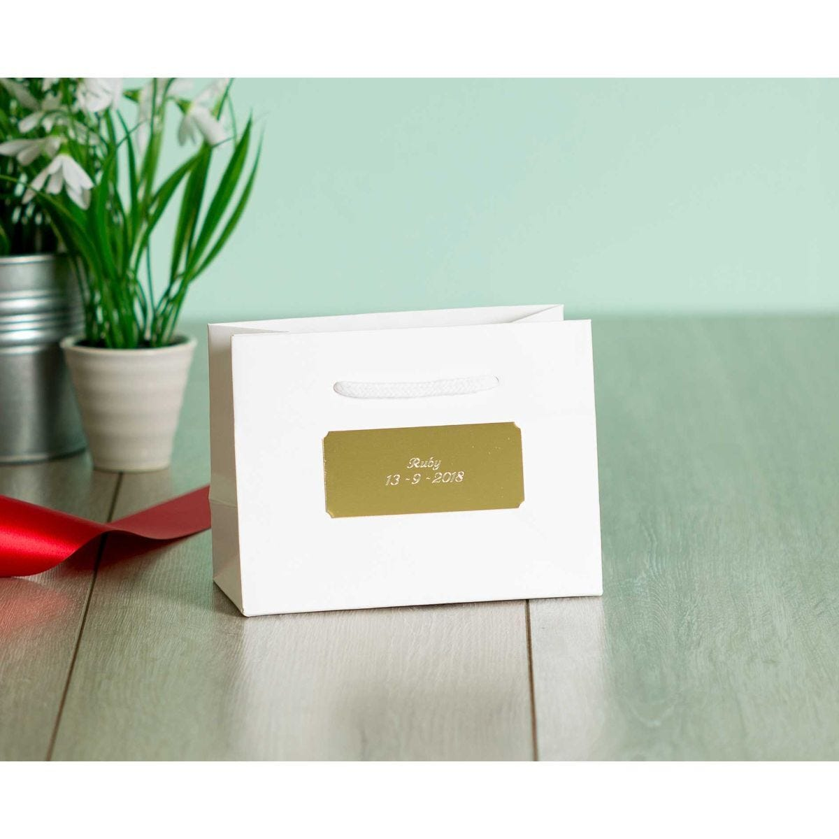 Personalised Luxury Small White Gift Bag with Engraved Gold Plate