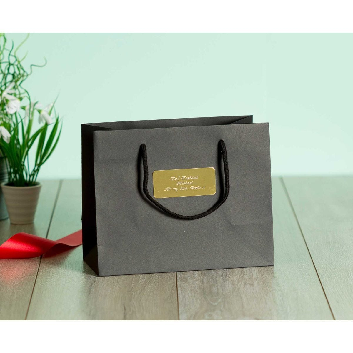 Personalised Luxury Medium Black Gift Bag with Engraved Gold Plate