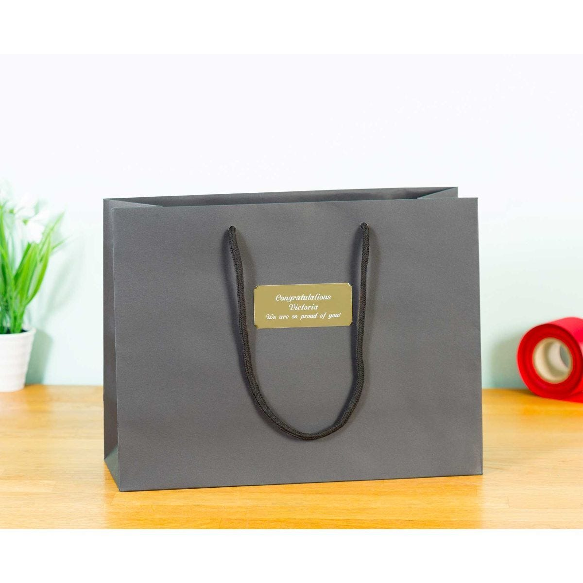 Personalised Luxury Large Black Gift Bag with Engraved Gold Plate