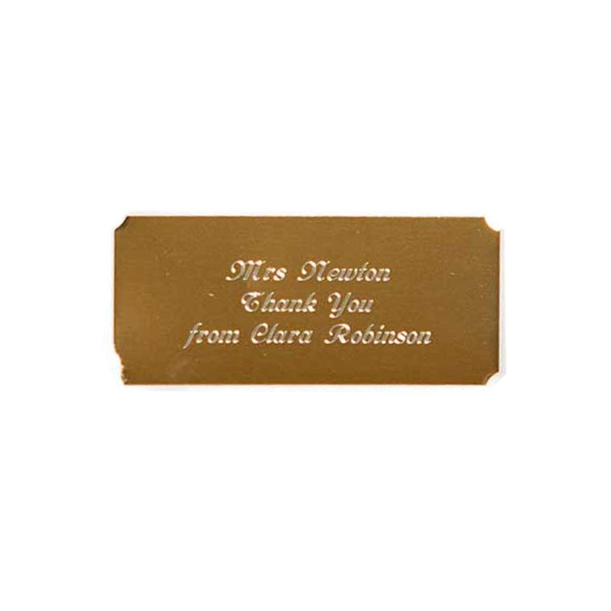 Personalised Engraved Self Adhesive Plate Gold