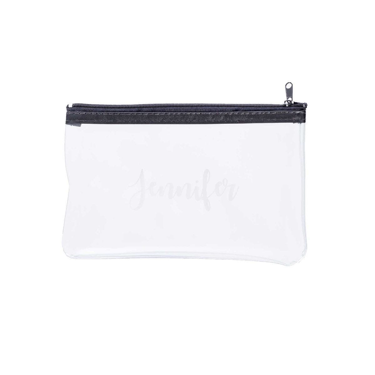 Personalised Pretty Font Clear Pencil Case Black Zip