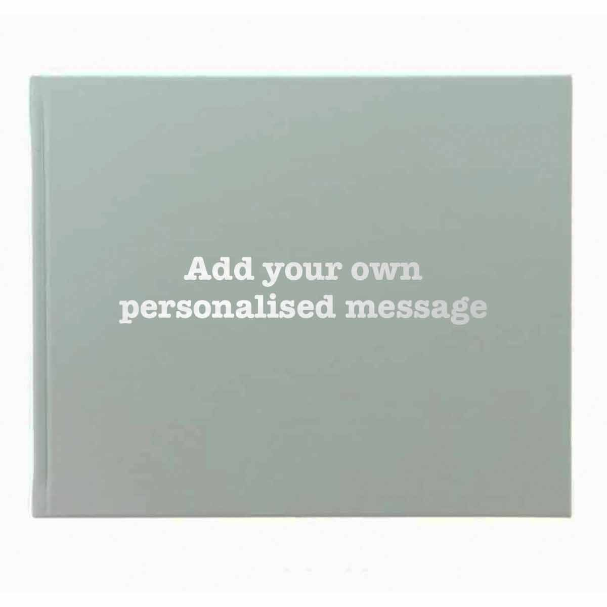 Letts Dazzle Personalised Occasions Book Typewrite Font Duck Egg