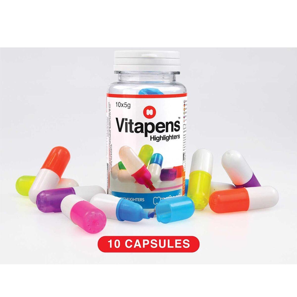 Vitapens Capsule Highlighters 10 in a Jar