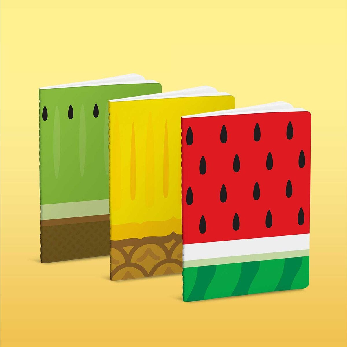Froot Notebooks Set of 3 Watermelon Pineapple and Kiwi