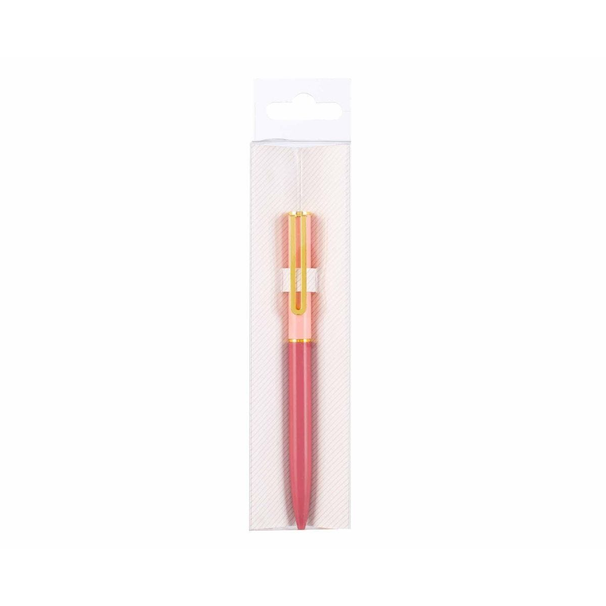 Ryman Metal Ballpoint Pen with Gold Clip Light Pink