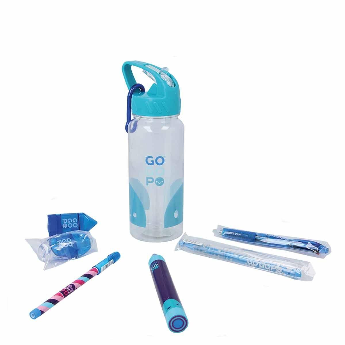 GOGOPO Blue Stationery Filled Reusable Bottle