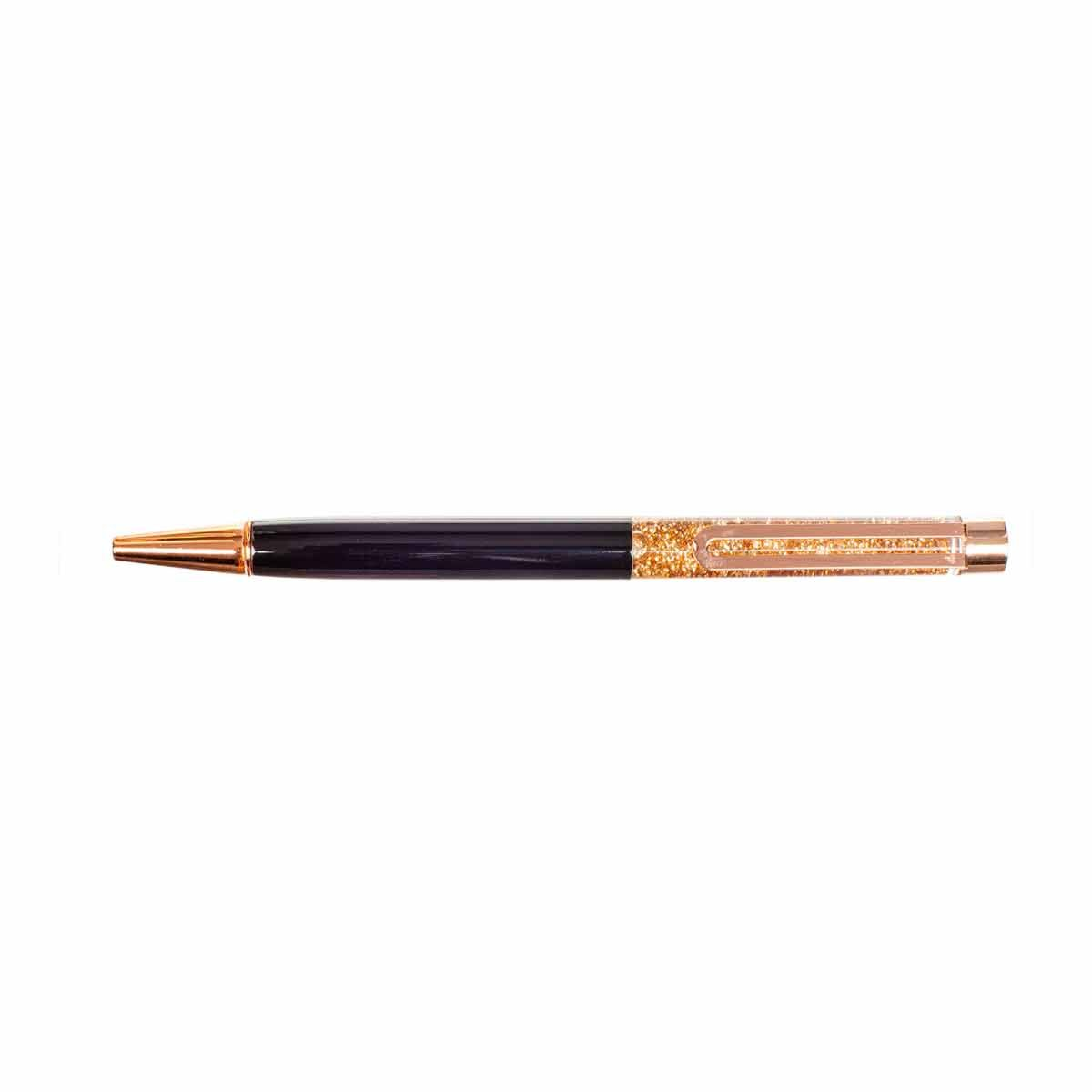 Glitter Metal Ballpoint Pen Black with Rose Gold Clip