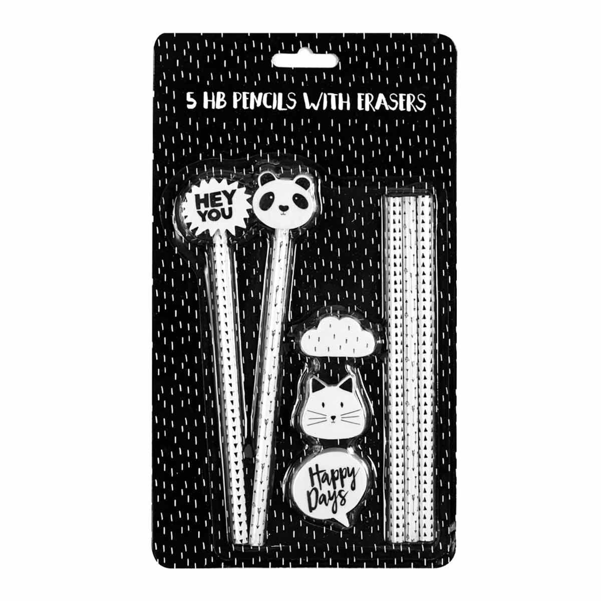 Panda Pencils with Eraser Toppers Pack of 5