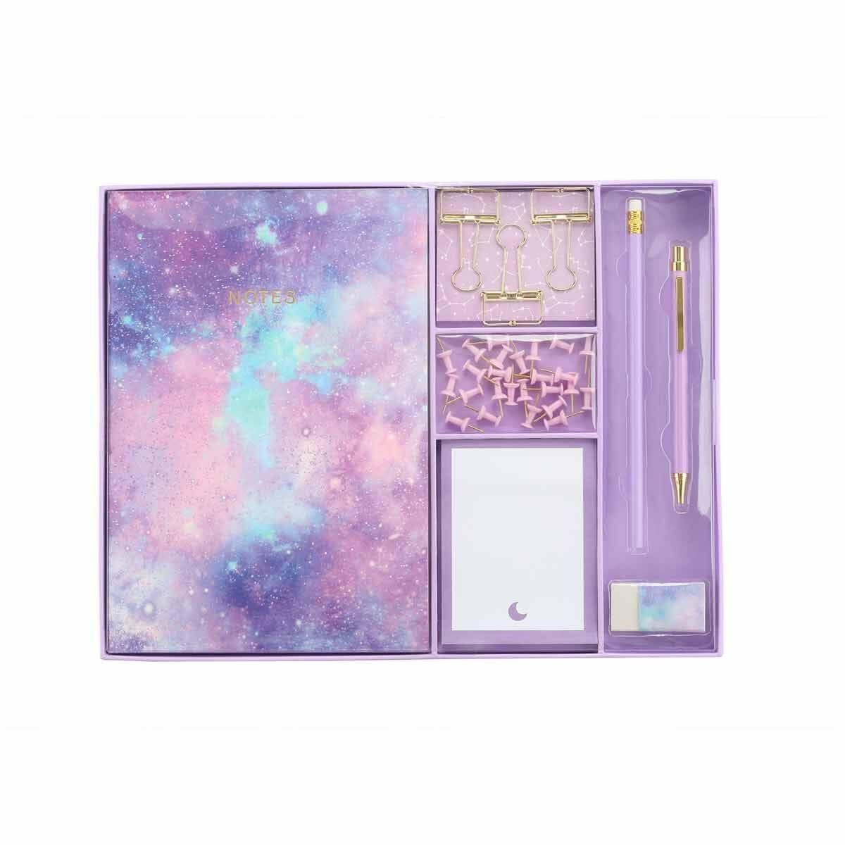 Large Stationery Gift Set Purple Galaxy