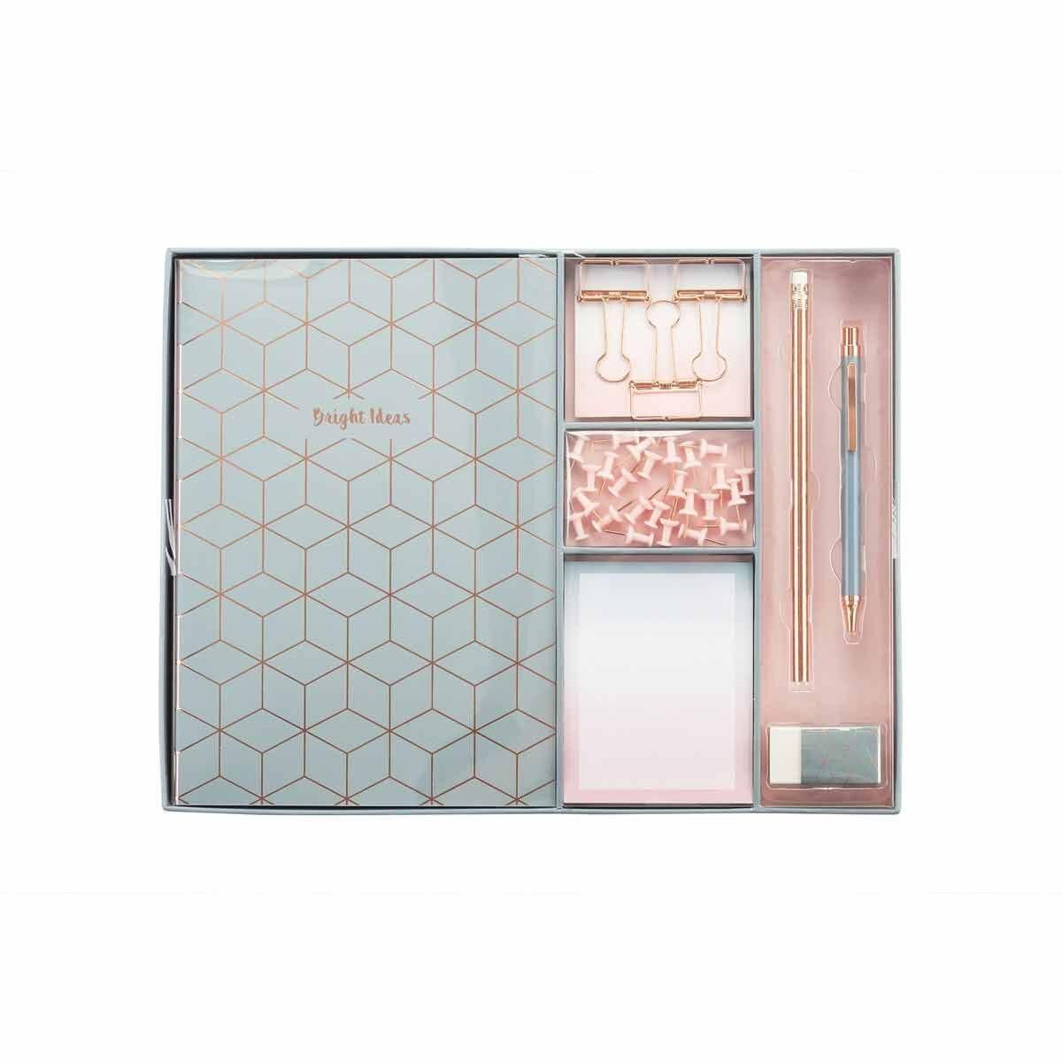 Large Stationery Gift Set Geometric Pink/Grey