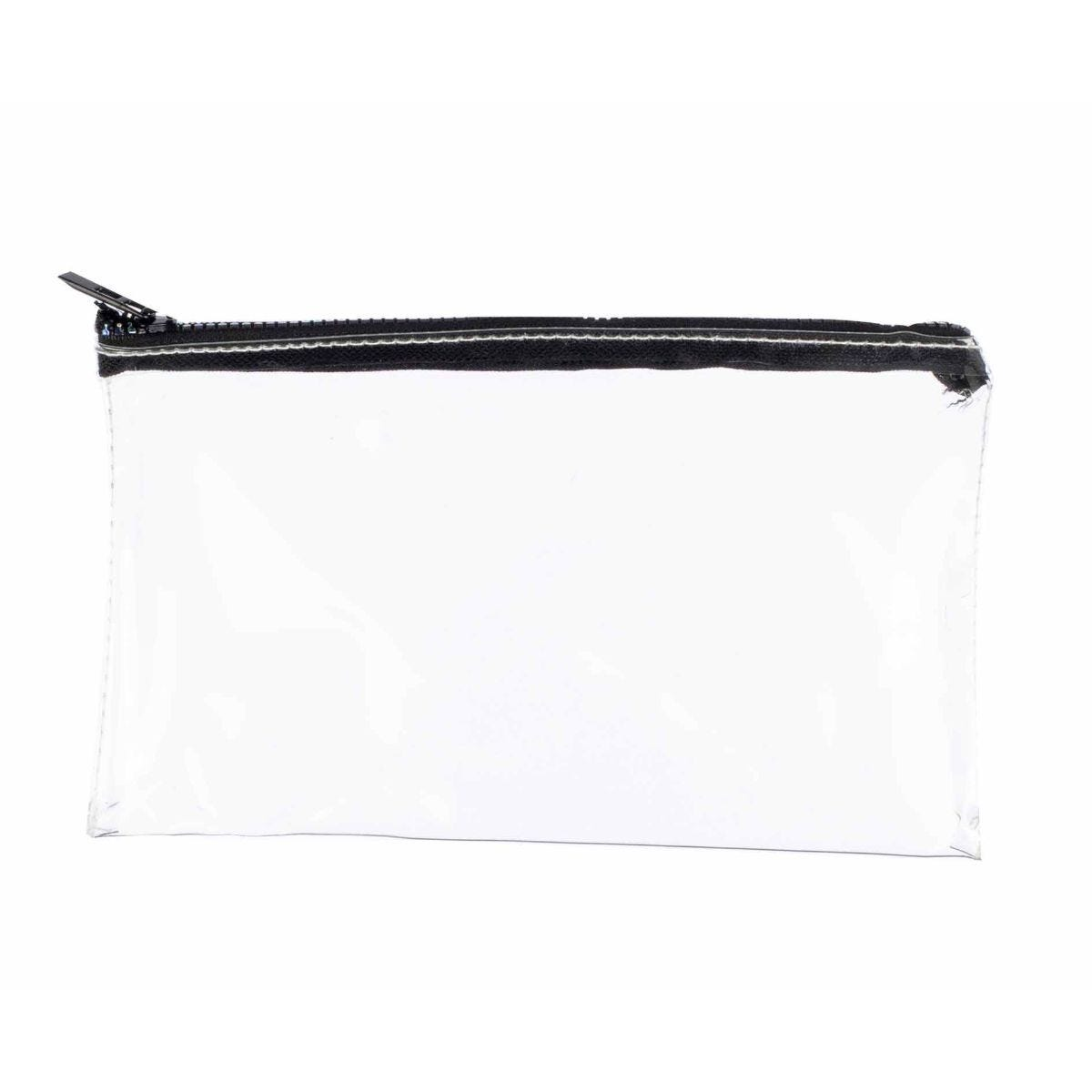 Clear Oil Slick Zip Flat Pencil Case 8x5