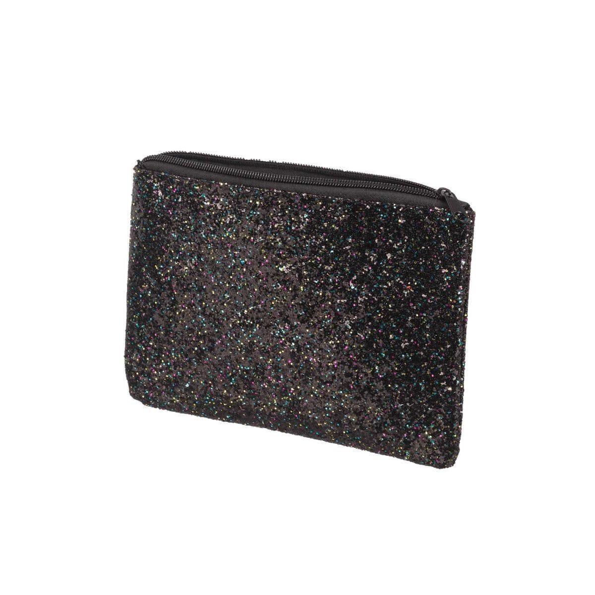 Glitter Flat Pencil Case Black