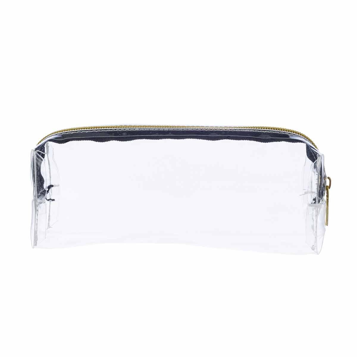 Clear Wedge Pencil Case with Gold Zip
