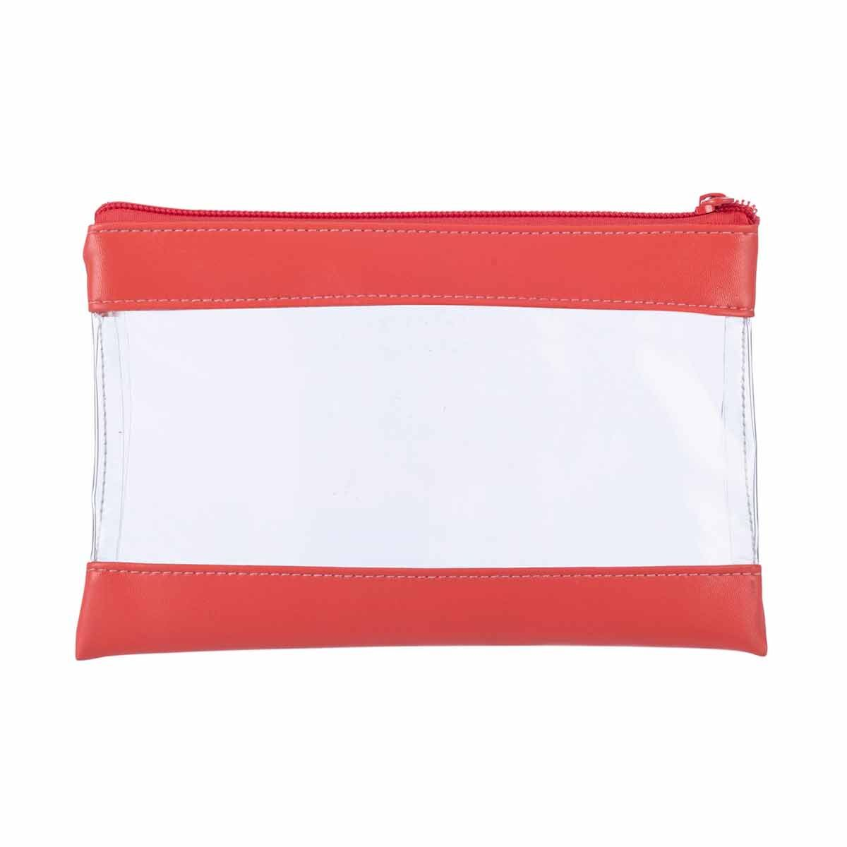 Clear Flat Pencil Case with Pastel Band Coral