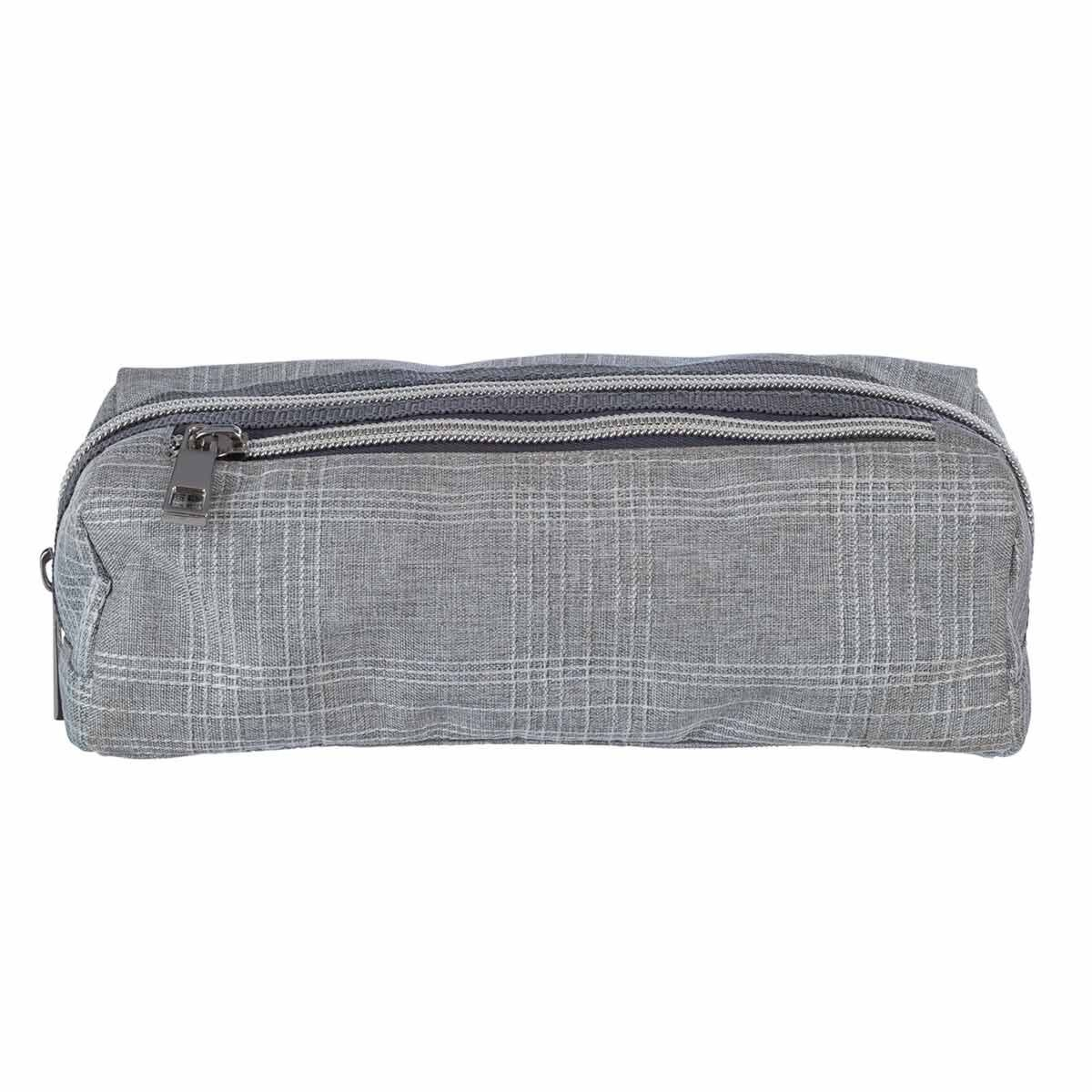 Grey Check Wedge Multi Compartment Pencil Case