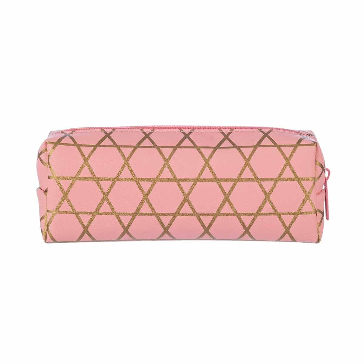 Gold Geo Wedge Pencil Case Coral