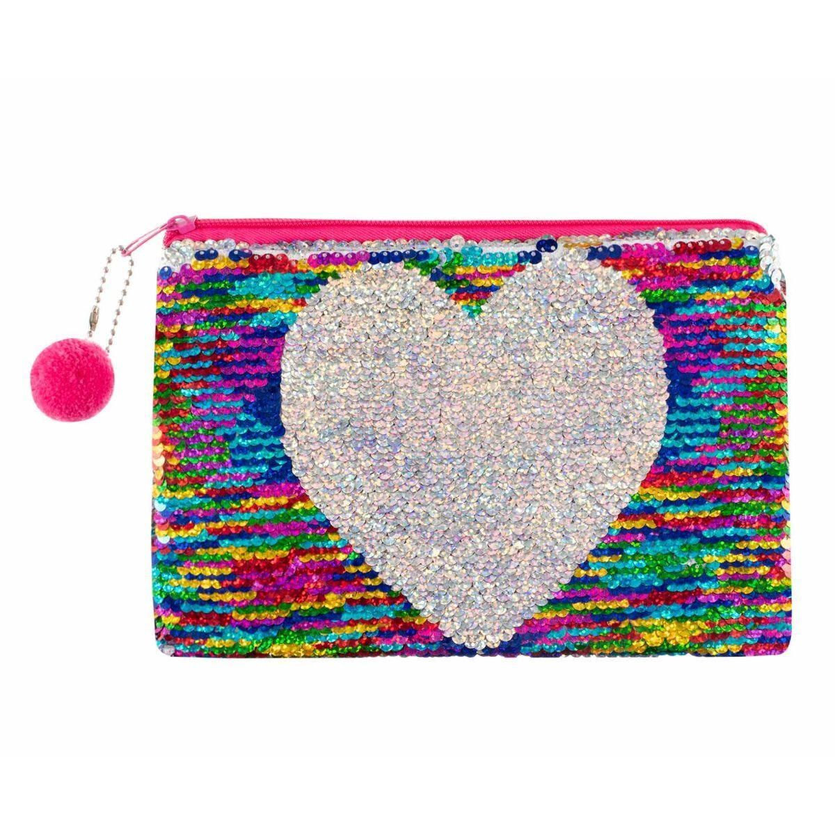 Ryman Flippable Heart Rainbow Sequin Pencil Case