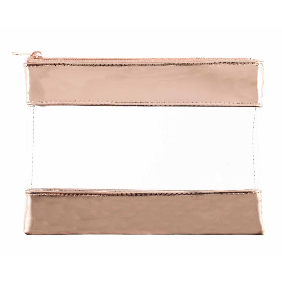 Ryman Clear and Metallic Rose Gold Pencil Case