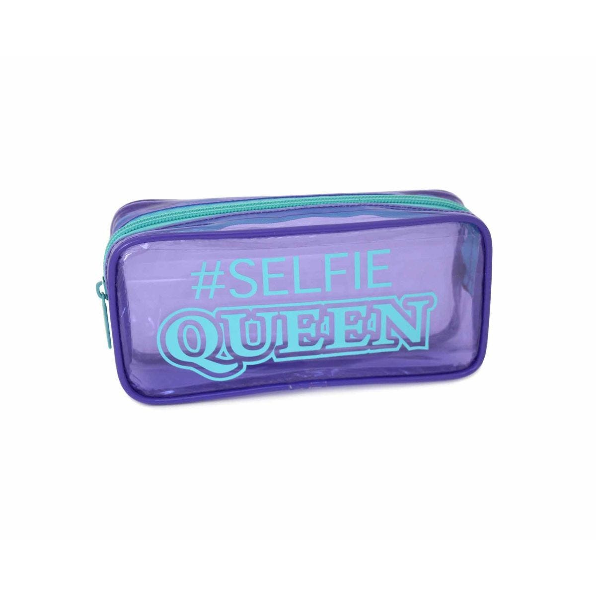 Selfie Queen and Unicorn Transparent Wedge Pencil Case Assorted
