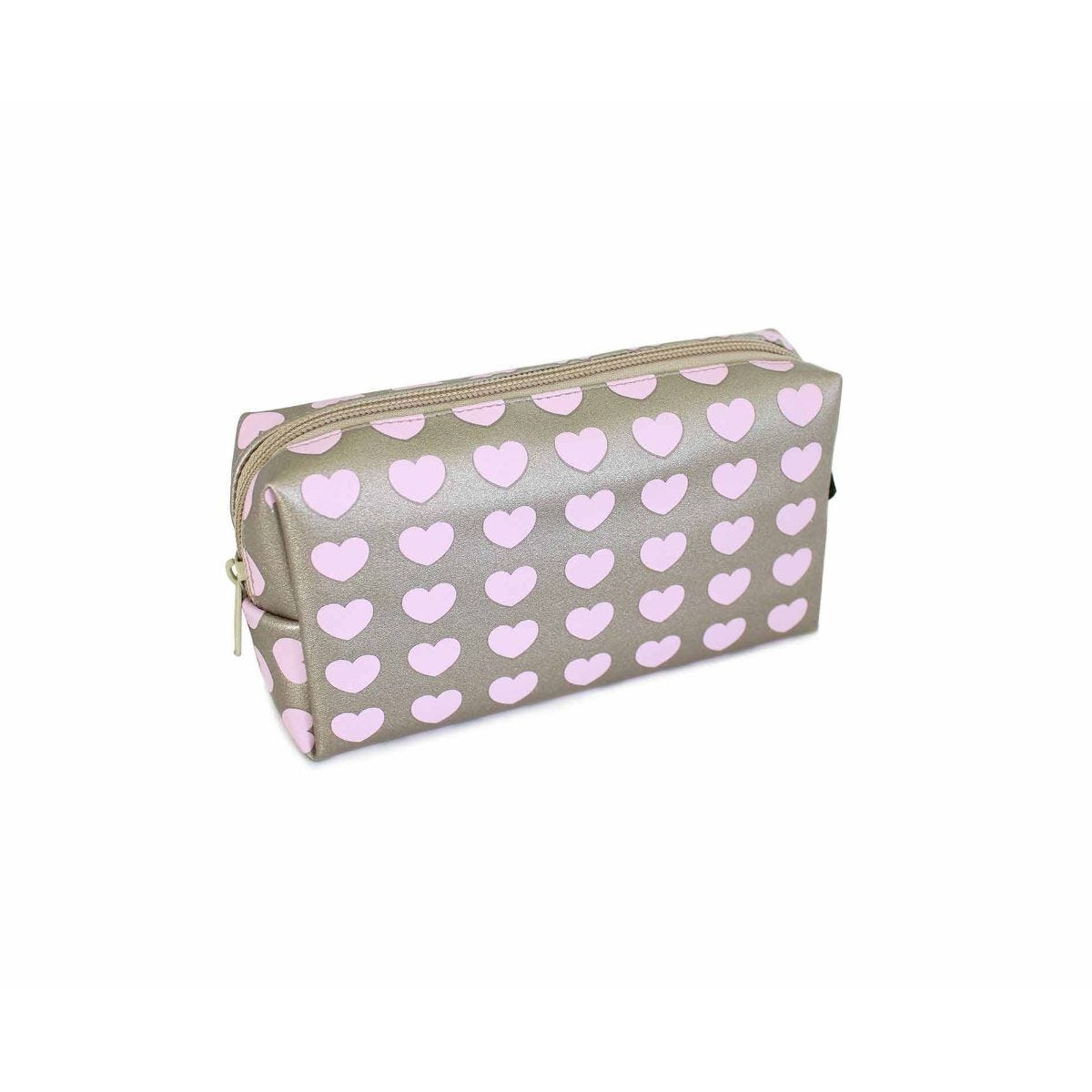 Pink Hearts Rose Gold Wedge Pencil Case