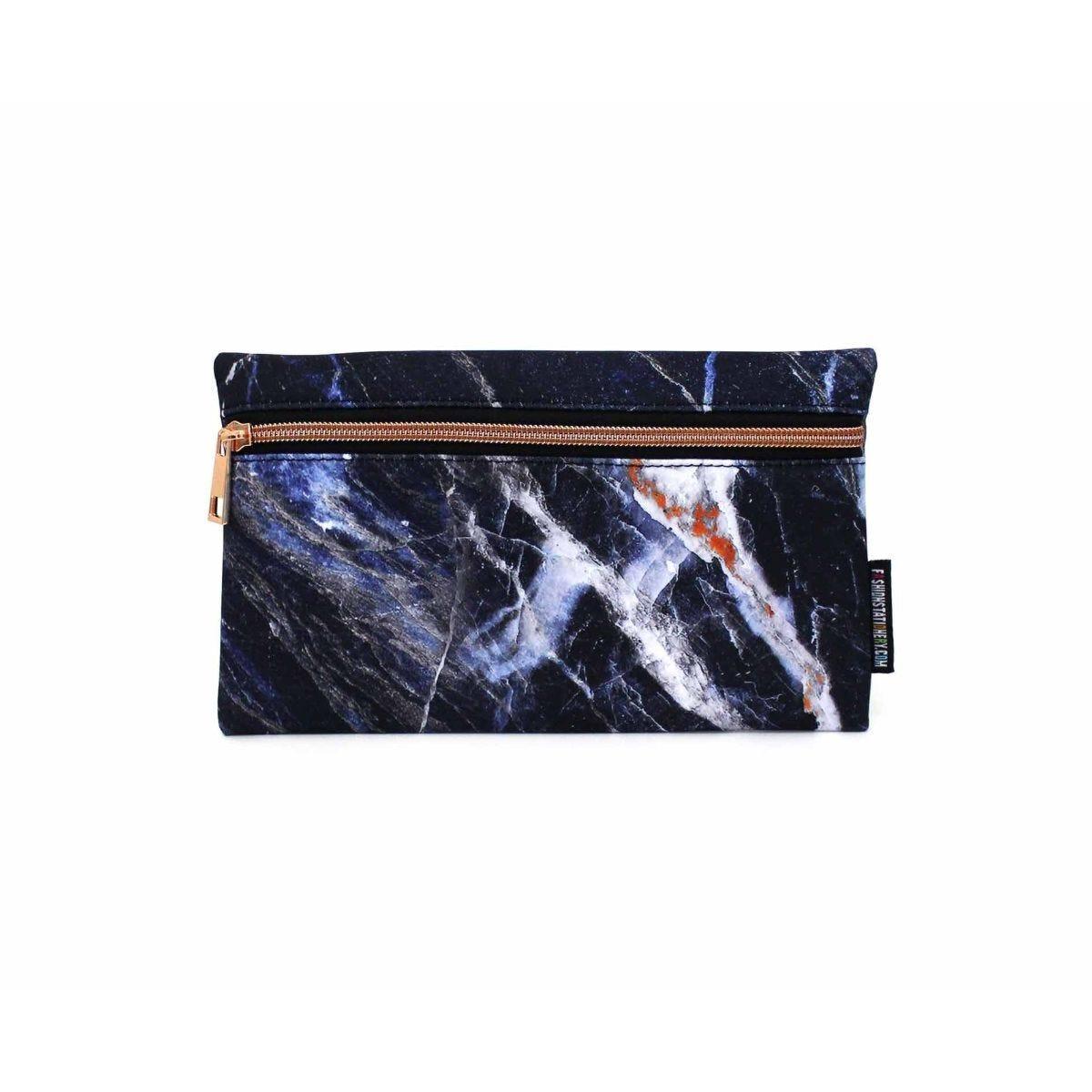 Black Marble Flat Pencil Case