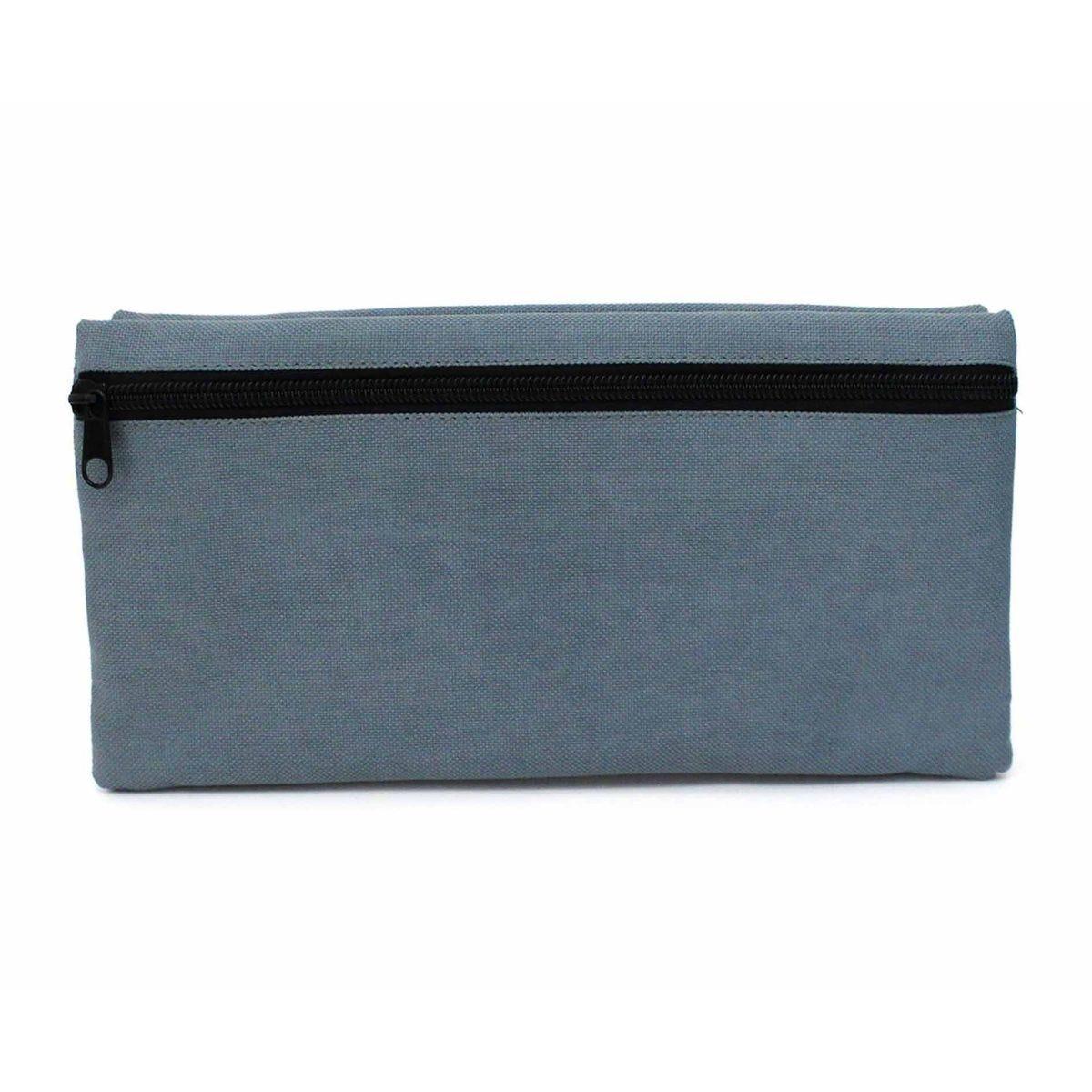 Large Double Pocket Black Pencil Case Grey Zip