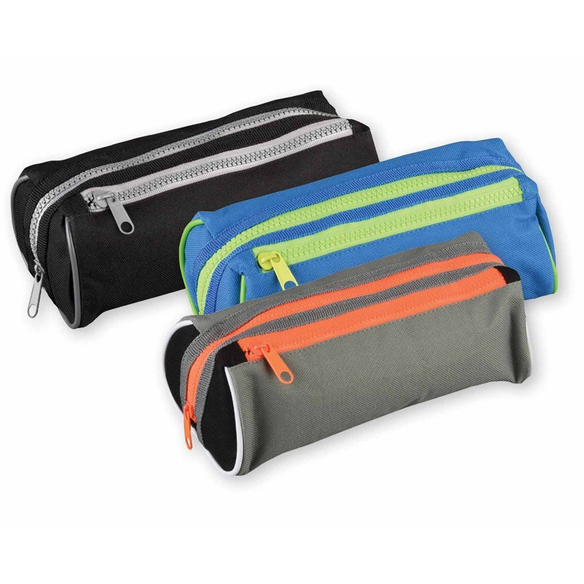 Chunky Twin Zip Pencil Case Assorted
