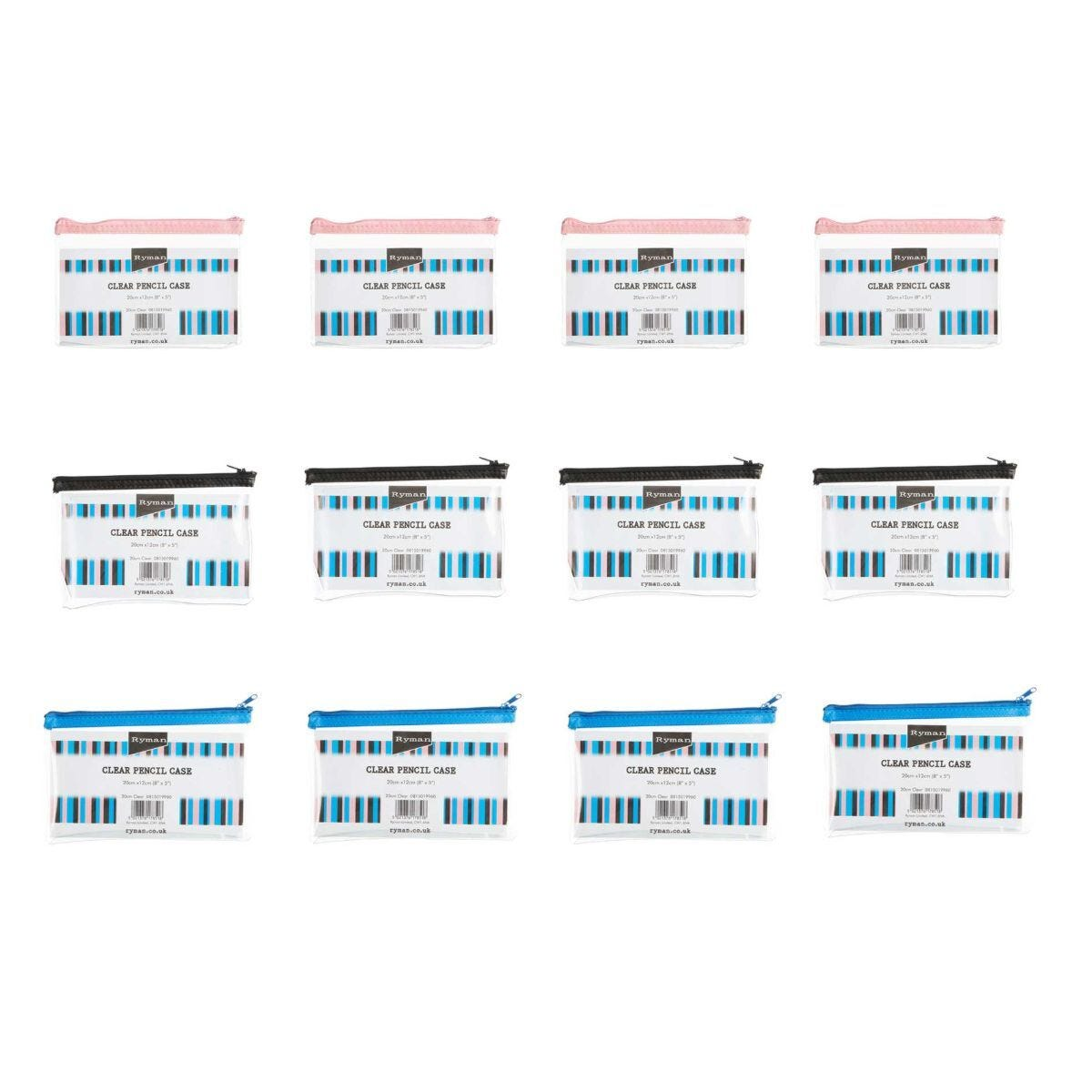 Ryman Pencil Case 8x5 Pack of 12 Clear